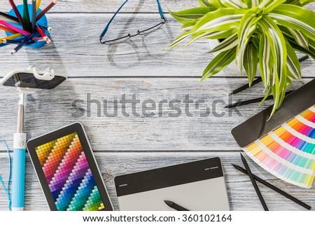 Design Designer Creative Graphic Desk Table - Stock Image - stock photo