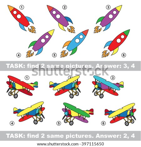 Design different, color equal.  Visual game. Task and answer. Find two similar Rocket and Plane. Raster copy. - stock photo