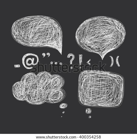 Design elements - a cloud of dialogue and punctuation marks. Hand drawing.  - stock photo