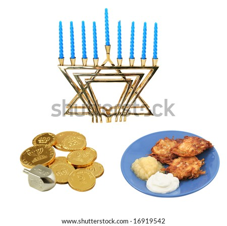 Design elements for Chanunkah - menorah, latkes, and a dreidel with gelt.  All isolated on white background.  (symbols on the coins are generic Hanukkah symbols and hebrew writing, not trademark) - stock photo