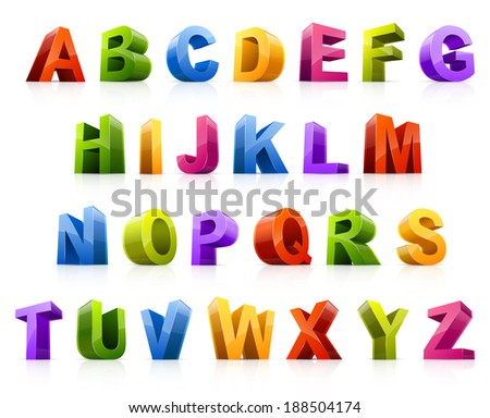 Design elements, illustration of colorful three dimensional letters.