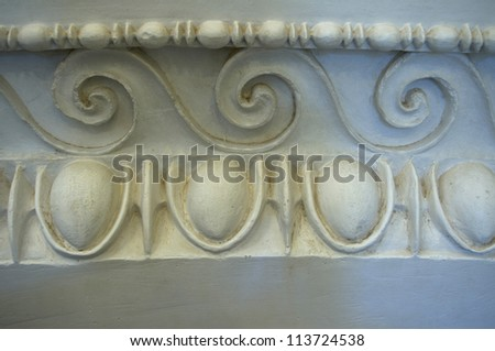 Design Elements of Ancient Greece, Epidaurus.  Examples Egg and Dart and wave patterns used in both ancient and neo-classical architecture and interior design. - stock photo