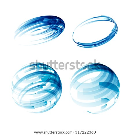 Design elements set in blue colors icons. Logo design. Circle. Blue background. - stock photo