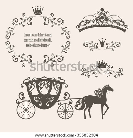 Design elements, vintage royalty frame with crown, ornamental style diadem, carriage in brown color. Raster illustration. Isolated on beige background. Can use for birthday card, wedding invitations. - stock photo