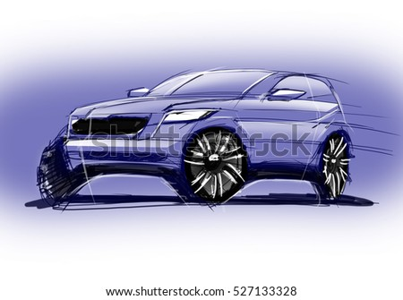 Design exterior dynamics sporty car is drawing brush color painting. Vehicle is off road sketch lights lines and in the luxurious curves.