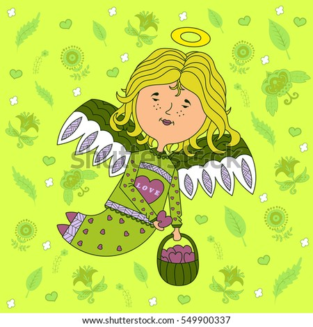 design greeting cards for Valentine's day. sweet girl angel with outspread wings, with a basket of hearts in his hand. floral background.