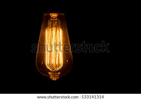 design idea concept  decor black lamp filament retro design on a black background