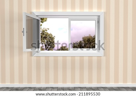 design in 3d of a room and an open window