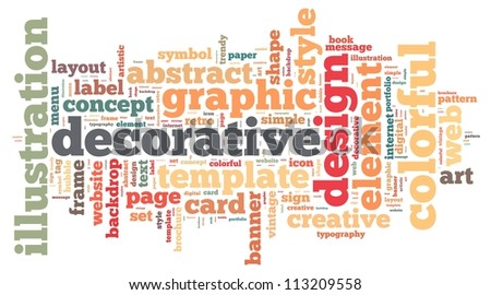 design info-text graphics and arrangement concept on white background (word cloud) - stock photo