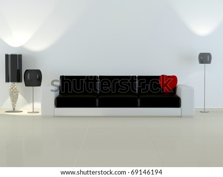 Design interior of elegance modern living room, modern white and black sofa with flour lamps, rendering - stock photo