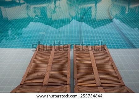 design interior of swimming pool outdoor - stock photo