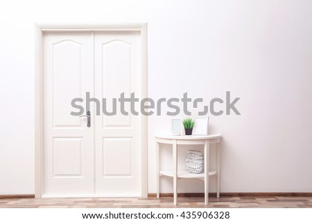 Design interior with closed door - stock photo