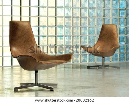Design lounge chair in abstract studio interior (3D render)