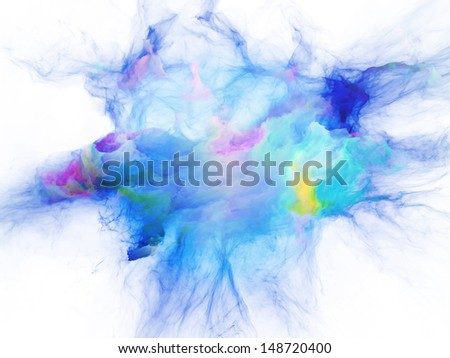 Design made of bursting strands of fractal smoke and paint to serve as backdrop for projects related to design, science, technology and creativity - stock photo