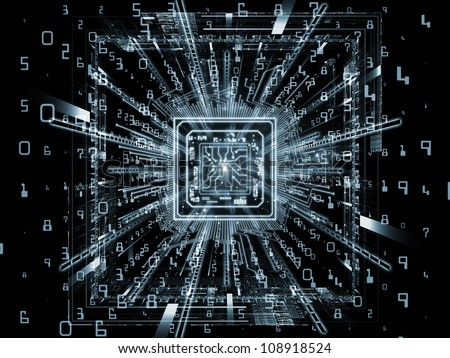 Design made of computer chip, numeric and abstract elements to serve as backdrop for projects related to computers,  math and information technology - stock photo