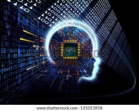 Design made of outline of human head and symbolic elements to serve as backdrop for projects related to knowledge, science, technology and education - stock photo