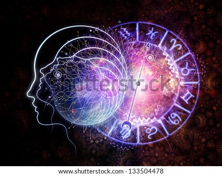 Design made of outlines of human head, astrological and fractal elements to serve as backdrop for projects related to astrology and occult - stock photo