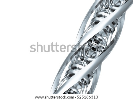 Design metal shapes in white background 3d rendering.