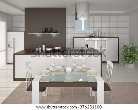Design modern spacious comfortable kitchen, 3d rendering.  - stock photo