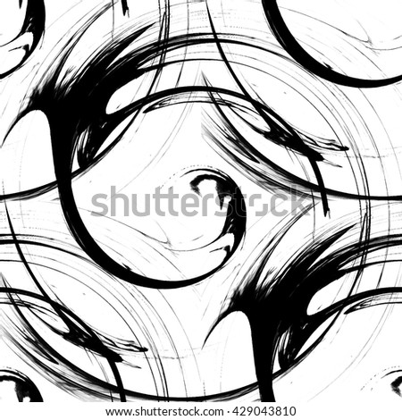 Design monochrome vortex movement illusion background. Abstract strip lines warped twisted backdrop. Art illustration - stock photo