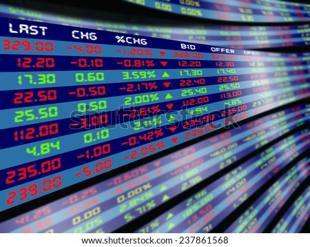 design of a large display for daily stock market price and quotation - stock photo