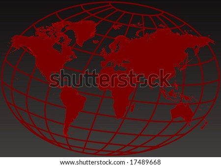 Design of a red map of the world - stock photo