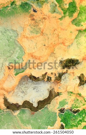 Design of colorful minerals deposited by thermal water, Karlovy Vary, Czech Republic - stock photo