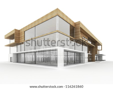 design of modern office building. architects and designers computer generated visualization. - stock photo