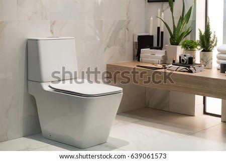 Design Of Modern Sanitary Ware In Bathroom