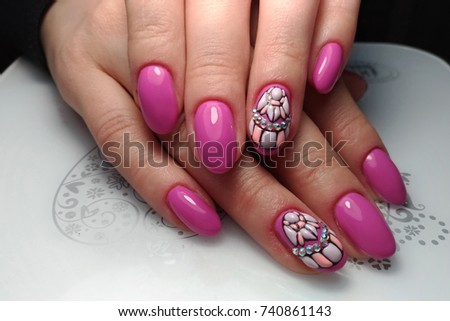 Design Nails Pink Coating Technique Sweet Stock Photo Royalty Free
