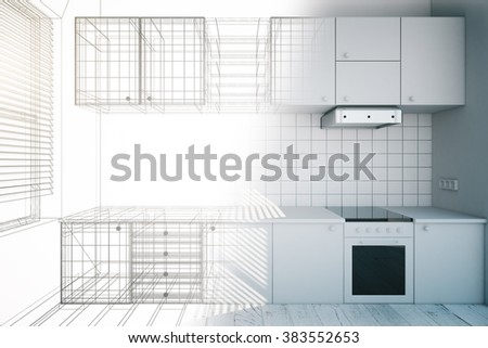 Design new white kitchen interior blueprint stock photo royalty design of new white kitchen interior with blueprint 3d render malvernweather