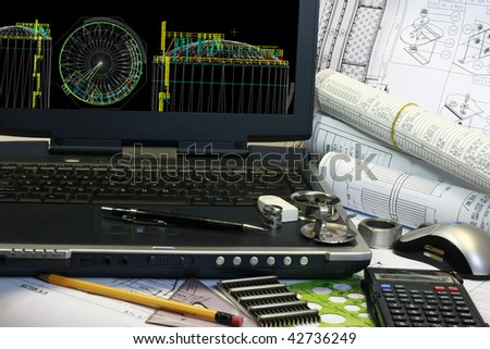 Design of Storage Tank in 3d modeling. Note 3d render display in the monitor is my original works. - stock photo