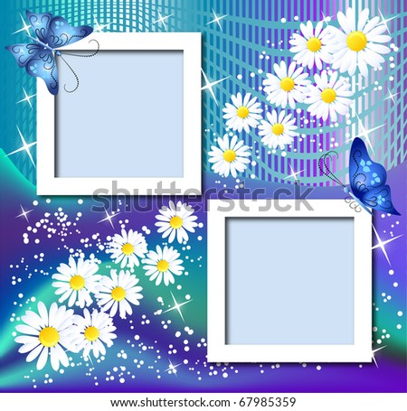 Design photo frames with flowers and butterfly. Raster version of vector. - stock photo