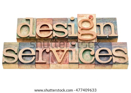 design services banner in letterpress wood type printing blocks isolated on white