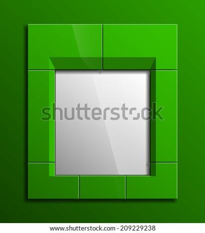 Design shape Origami green frame - stock photo
