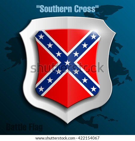"Design shield with flag the Confederate States of America ""Southern Cross"". illustration"