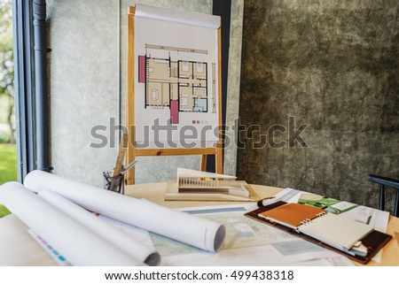 Design Studio Architect Creative Occupation Blueprint Office Concept