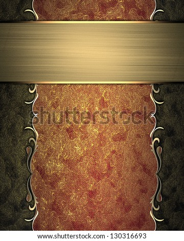 Design template - Abstract red-gold texture with gold ornament edges and gold nameplate