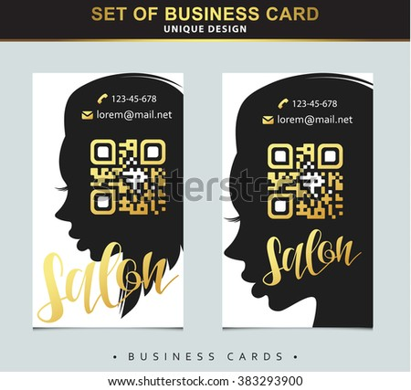 Design template business card beauty salon stock illustration design template business card for beauty salon with gold and place below qr code silhouette accmission Images