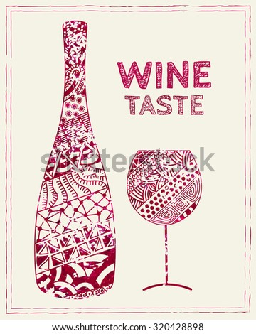Design template for a wine menu with wineglass and bottle in the style of zentangle. Hand drawn. Isolated. Raster copy of vector file. - stock photo