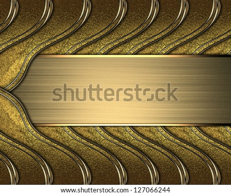 Design template - Gold braided texture with golden edges and gold nameplate - stock photo