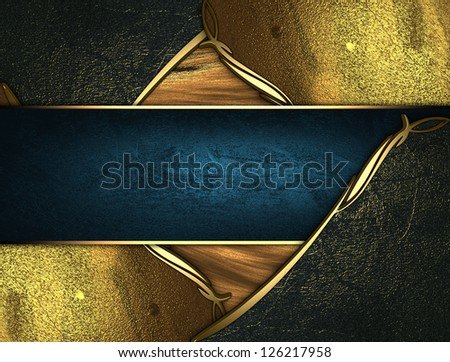 Design template - Gold texture with golden and black edges gold trim and blue name plate - stock photo