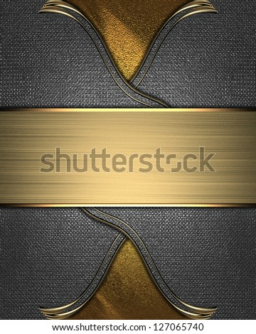 Design template - Golden texture with iron inserts and a gold nameplate - stock photo