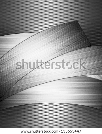 Design template - Metal abstract background with iron ribbons for writing
