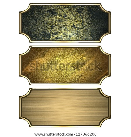 Design template - Three gold frames isolated on white background - stock photo