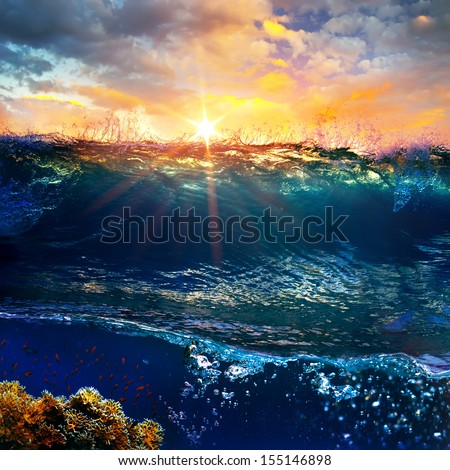 design template. underwater part with coral reef and tropical sunset skylight separated by waterline - stock photo