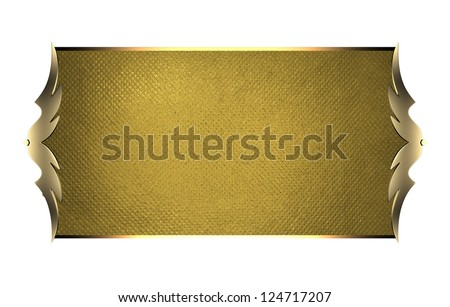 Design template - White Background with gold plate and a beautiful gold trim.