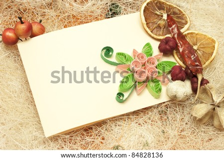 Design with invitation card and lemons - stock photo