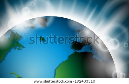 design with planet earth and sunrise or burst of light in space. JPG version - stock photo