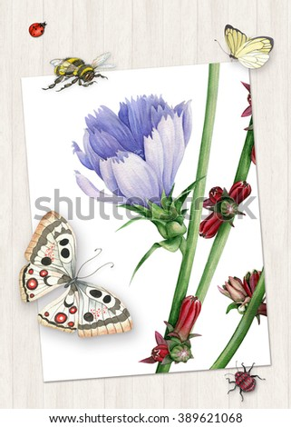 Design with watercolor spring flower and cute insects - stock photo